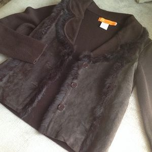 Cynthia Steffe leather suede & fur coat jacket XS
